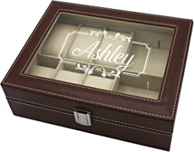 Custom Monogrammed Jewelry Box & Organizer - Personalized and Engraved Bridesmaid Accessories Gift (Brown)