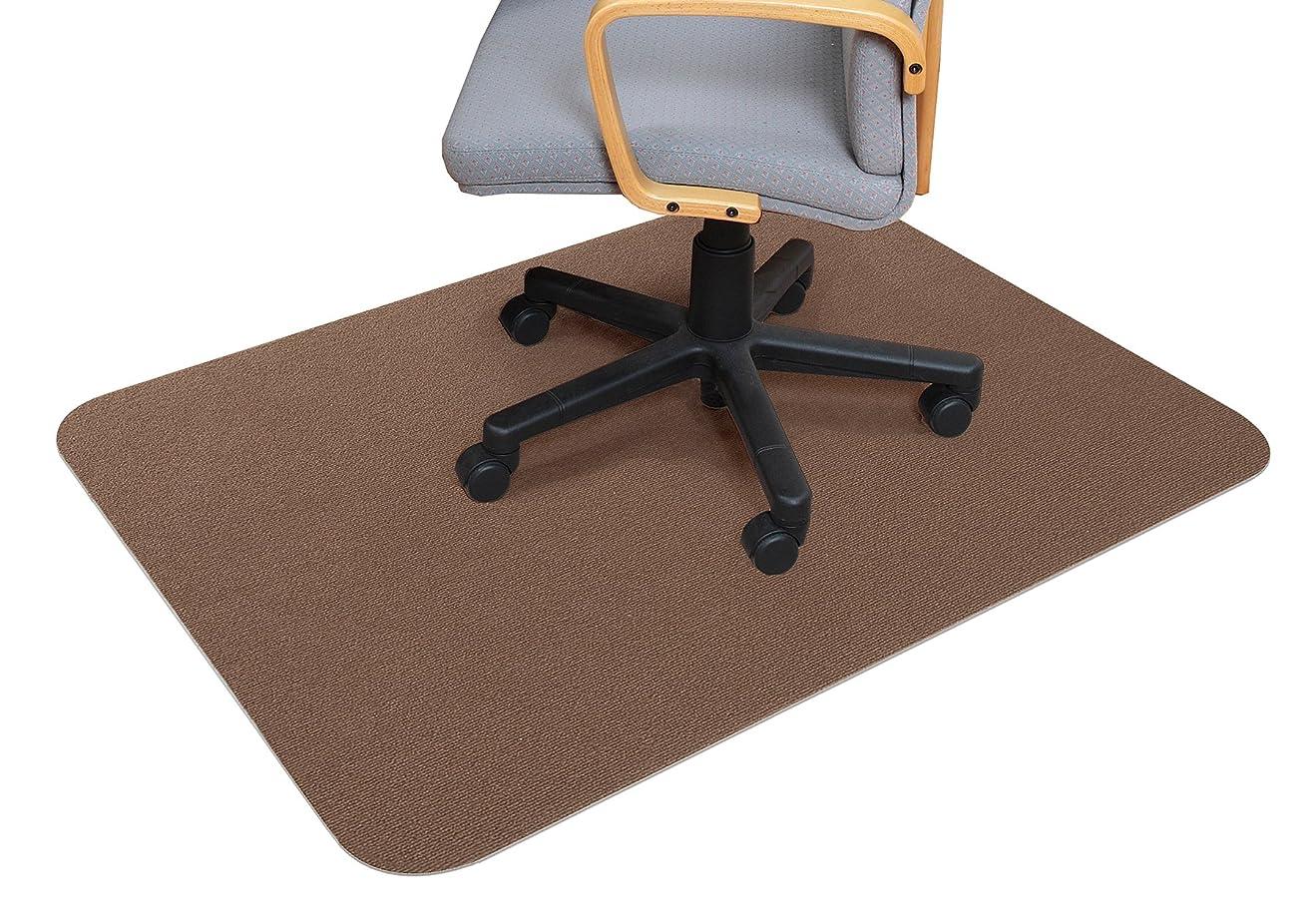 擬人専ら受取人サンコー ズレない チェアマット おくだけ吸着 デスク 床保護マット 90×120cm ブラウン