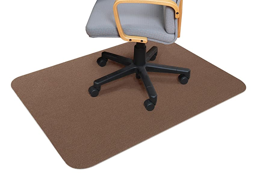 アソシエイト制約魅力的サンコー ズレない チェアマット おくだけ吸着 デスク 床保護マット 90×120cm ブラウン