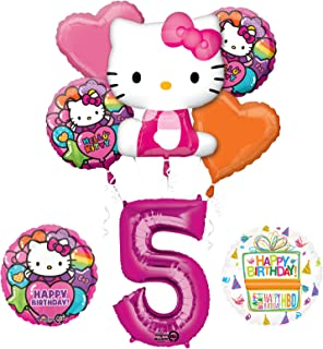 53da5986b Mayflower Products Hello Kitty 5th Birthday Party Supplies and Balloon  Bouquet Decorations