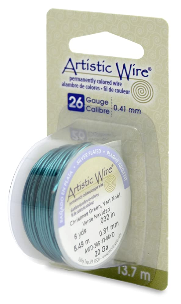 Artistic Wire 26S Gauge Wire, Christmas Green, 15-Yard