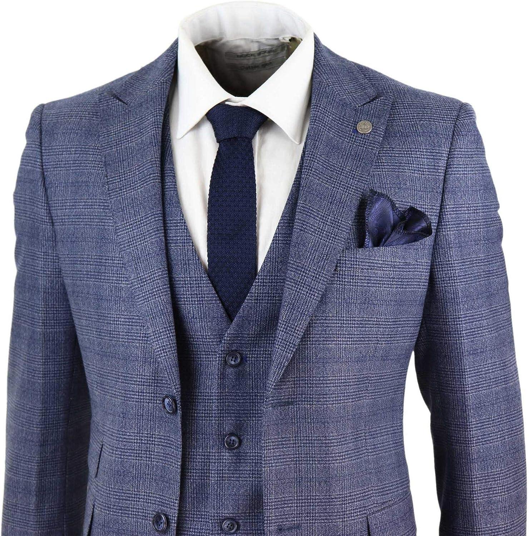 Mens 3 Piece Suit Classic Tweed Check Vintage Retro Tailored Fit