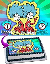 Thing One and Thing Two Dr. Seuss Edible Image Cake Topper Party Personalized 1/4 Sheet