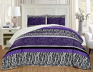 GrandLinen 3 Piece King Size Dark Purple Black Animal Print Safari Comforter Set. Leopard, Zebra, Winter Micro Fur Bedding with Sherpa Backing