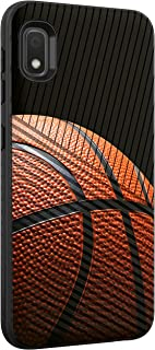 TurtleArmor | Compatible with Samsung Galaxy A10e Case | Galaxy A20e Case | Hard Shell Engraved Grooves Hybrid Fitted TPU Case Sports and Games Design - Basketball Seams