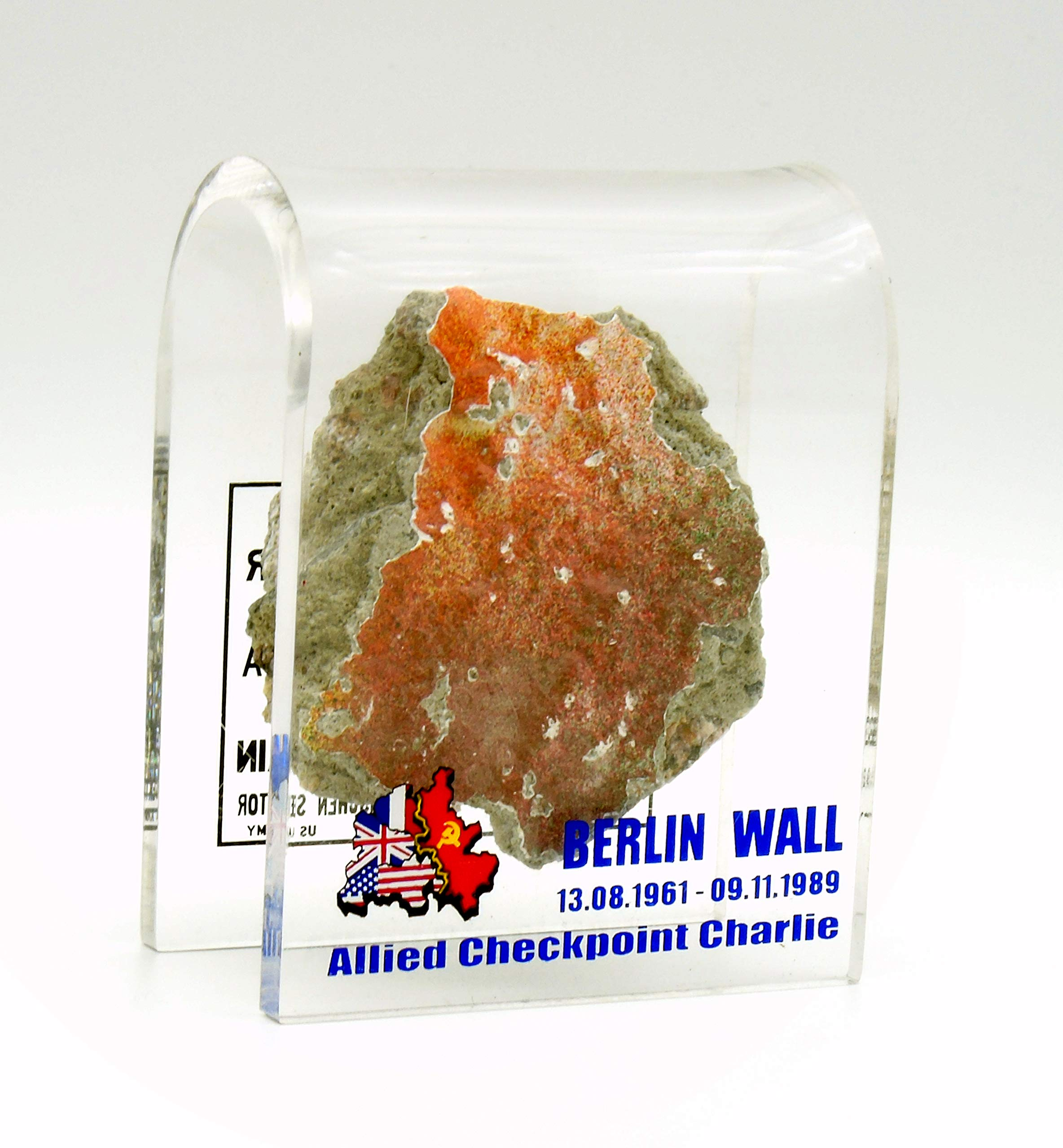 Authentic Piece of The Berlin Wall in Acrylic Holder Stand Collectors Item Gift