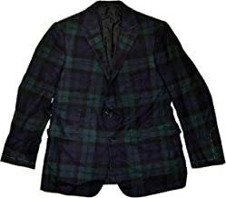 Ralph Lauren Polo Purple Label Mens Cashmere Blazer Plaid Italy Green Navy 42R
