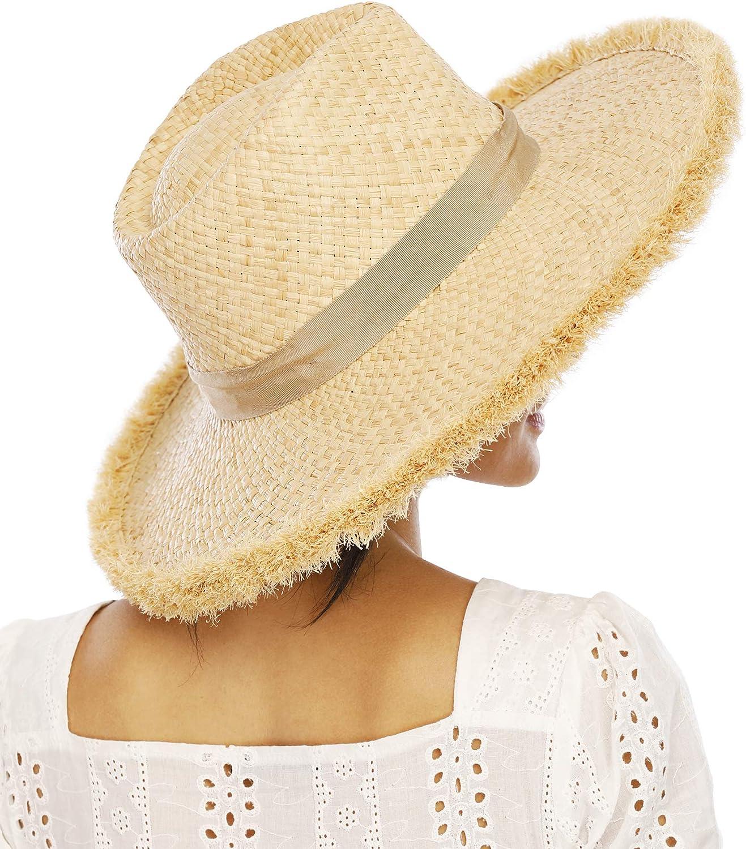 FEMSÉE Beach Hats for Women Men- Wide Brim Fringe Raffia Straw Ribbon Summer Sun Hat Travel