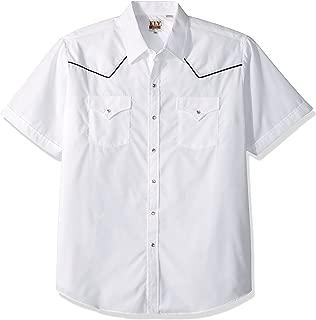 ELY CATTLEMAN Men's Short Sleeve White Western Shirt
