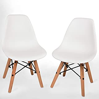 UrbanMod Kids Modern Style Chairs, [Set of 2] ABS Easy-Clean Chairs!! Highest Strength Capacity (330lbs)! (Renewed)