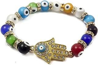 Hamsa Hand Bracelet Agate Crystals Colorful Evil Eye Beads Judaism Israel Luck Charm