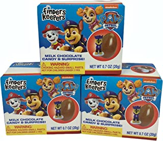 Paw Patrol Finders Keepers Milk Chocolate Candy Egg and Surprise Toy Gift, Party Favor Stocking Stuffer, 0.7 Ounce, Pack of 3