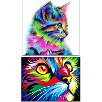 DIY Full 5D Diamond Mosaic Embroidery Two Cute Cats Kits Art Embroidery Decor