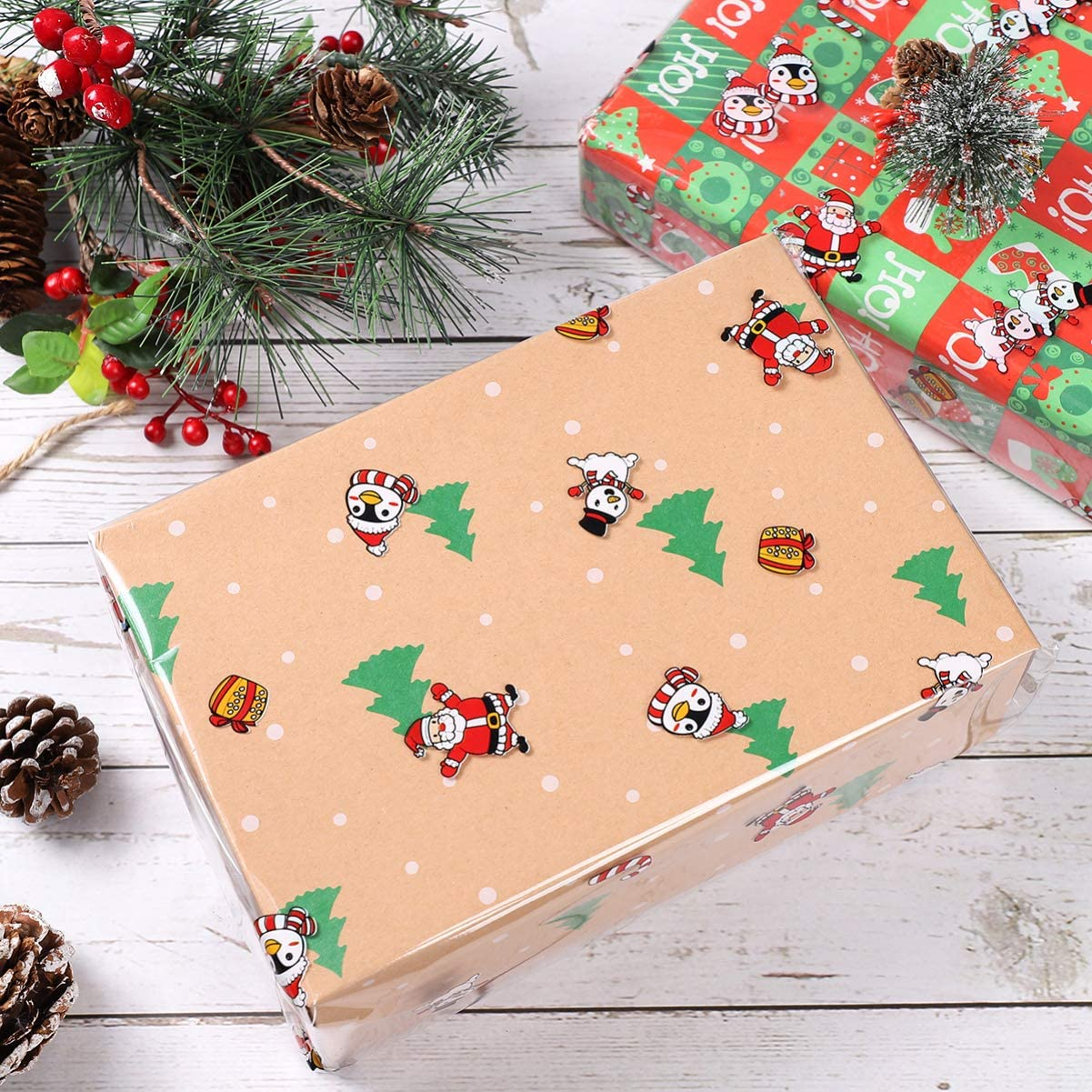 NUOBESTY Christmas Cellophane Wrap Cellophane Gift Wrapper Wrap Roll for Baskets Arts Crafts 3000x80cm 3Mil Thickness Santa Claus Pattern Design