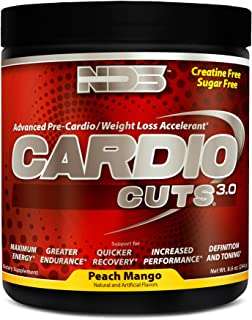 NDS Nutrition Cardio Cuts 3.0 - Advanced Pre-Cardio And Weight Loss Formula WIth L-Carnitine - Maximum Energy, Greater Endurance, Faster Recovery, Increased Performance - Peach Mango - 40 Servings