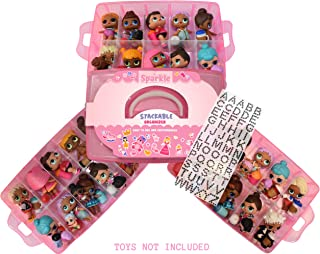 XFINITYCO - LOL Storage Case Customizable Toy Adjustable Organizer Case Stackable 3 Tier - 30 Compartments - Perfect for Dolls and Small Collectible Toys - Toys not Included - Glitter Pink