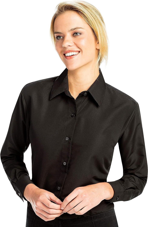 Luxe Microfiber Women's Button-Down Shirt Long Sleeve Regular Fit Point Collar - Style Becky