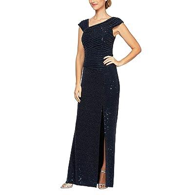 Alex Evenings Long Sleeveless Asymmetrical Neckline Dress Women