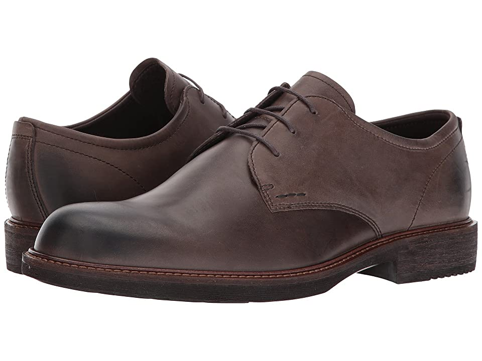 ECCO Kenton Plain Toe Tie (Dark Clay) Men