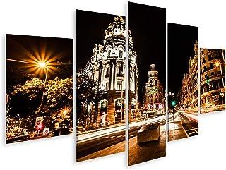 islandburner, Cuadros de Salon Tráfico de Calles en la Noche en Madrid, España (Imagen HDR) Cuadro Decoracion de Pared Impresión en Lienzo Formato Grande Modernos OPN-MFP-N