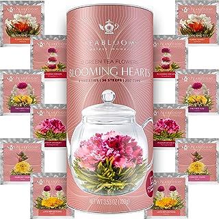 Teabloom Heart Shaped Flowering Tea – 12 Assorted Blooming Tea Flowers – Green Tea + Jasmine, Pomegranate, ...