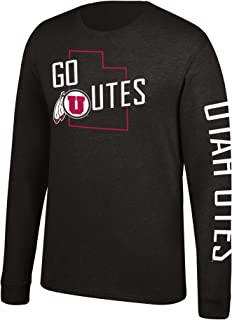 J America NCAA Men's Utah Utes Classic Heather Long Sleeve Tee, Medium, Black
