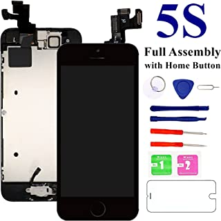 Nroech for iPhone 5S Screen Replacement (Black) 4.0'' with Home Button,Full Assembly with Camera,A1453 A1457 A1530 A1533 LCD Digitizer Display Retina Touch Screen Repair Kits with Tool + Protector