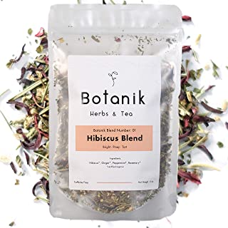 Botanik Herbs & Tea - Herbal Hibiscus   Blend #01 - Hibiscus Flowers, Ginger, Peppermint, Rosemary   Organic Ingredients   Premium Small Batch Loose Leaf   No Caffeine