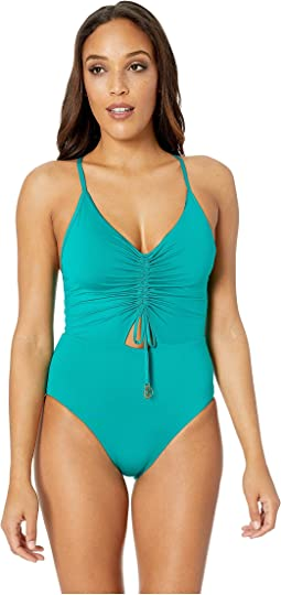 Under The Sun Shirred Front One-Piece