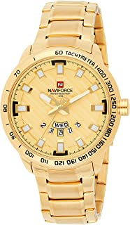 Naviforce Men's Gold Dial Stainless Steel Analogue Classic Watch - NF9090-GG