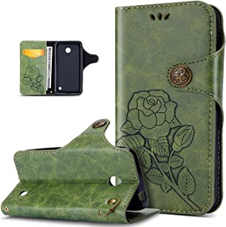 Nokia Lumia 630 Case,Nokia Lumia 635 Case,ikasus 3D Relief Embossing Rose Flower Floral Retro PU Leather Fold Flip Wallet Cover Stand Card Slots Protective Case Cover for Nokia Lumia 630/635,Green