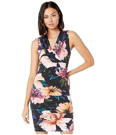 Nicole Miller Dahlia Bloom Dakota V-Neck Dress (Black Multi) Women
