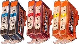 Start - Set de 6 cartuchos de tinta con chip compatibles con CLI-526 (cian, magenta y amarillo) para impresoras Canon Pixma iP4850, iP4950, iX6550, MG5150, MG5250, MG5340, MG5350, MG6150, MG6250, MG8150, MG8240, MG8250, MX884 y MX885