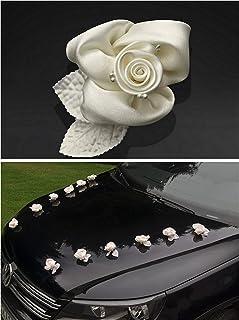 Autoschmuck Hochzeit 10 Rosen creme Satin Hochzeits Deko