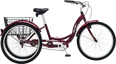 Schwinn Meridian Adult Tricycle with Wheels in Maroon, with Low Step-Through Aluminum Frame, Front and Rear Fenders, Adjustable Handlebars