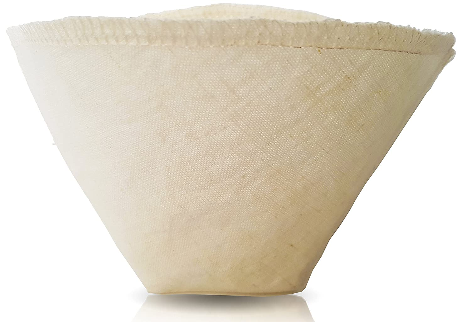 Hemp and Organic Cotton Cloth Coffee Filter by Pinyon Products - Reusable, Natural, Unbleached, Environmentally Friendly Cloth Cone Drip, pour-over Coffee Filter (Size 2; 4-6 Cups)