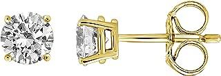 IGI Certified Diamond Stud Earrings for Women Set in 14K Gold, Premium Quality (Clarity I1I2)