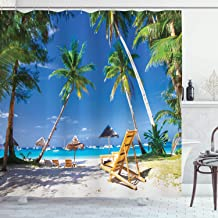 Ambesonne Seaside Shower Curtain, Sun Bed Under Palm Trees Tropical Oceanside in Boracay Island Image Print, Cloth Fabric Bathroom Decor Set with Hooks, 75 Long, Green Blue and White
