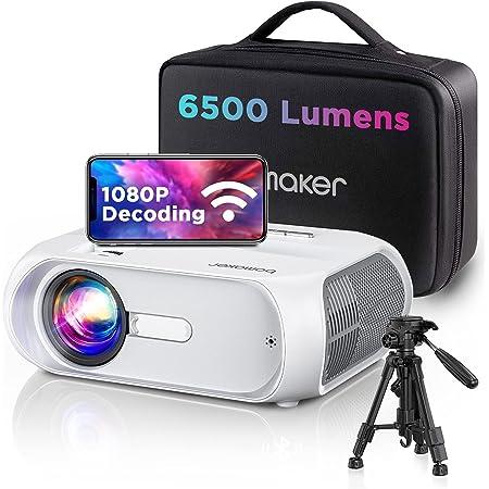 Bomaker Proiettore Wifi, Videoproiettore Portatile, Luinosità 6500, Supporta Full HD 1080p/HDMI/AV/USB/VGA/AUX, Compatibile Android/iOS/Windows/Mac, Ideale per Home Cinema e Film all'Aperto