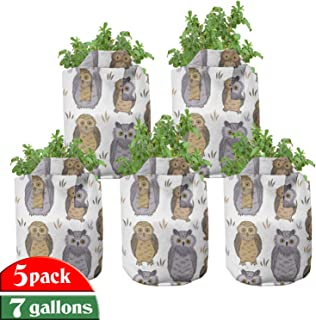 Lunarable Owl Grow Bags 5-Pack, Bird Awake at Night Animals, Heavyduty Fabric Pots with Handles for Plants, 7 Gallon, White Cocoa Sand Brown
