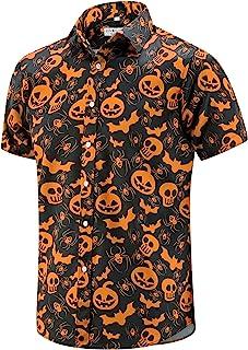 ENVMENST Halloween Button Up Shirt for Men Fun Pumpkins Printed Casual Short Sleeve Hawaiian Aloha Shirts