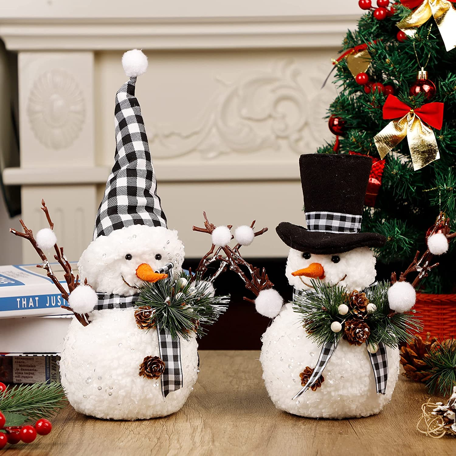 winemana Christmas Table Decorations, Set of 2 Snowman with Pine Cone Twigs, Winter Tabletop Decor for Indoor Home Kitchen Fireplace Office Room Xmas Gifts Holiday Party