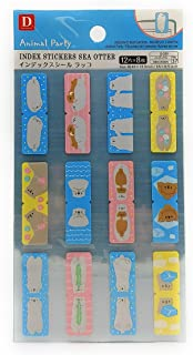 Daiso Animal Party Index Stickers Sea Otter 12 Designs 8 Pages