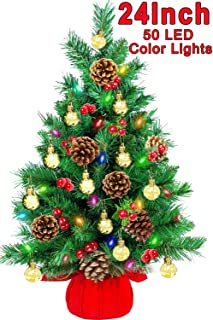 24 Inch Tabletop Christmas Tree Artificial Mini Xmas Pine Tree With 50 LED Multicolor String Lights, Pine Cones, Red Berries, Gold Ball Ornaments for Home Indoor Outdoor Holiday Christmas Party Decor