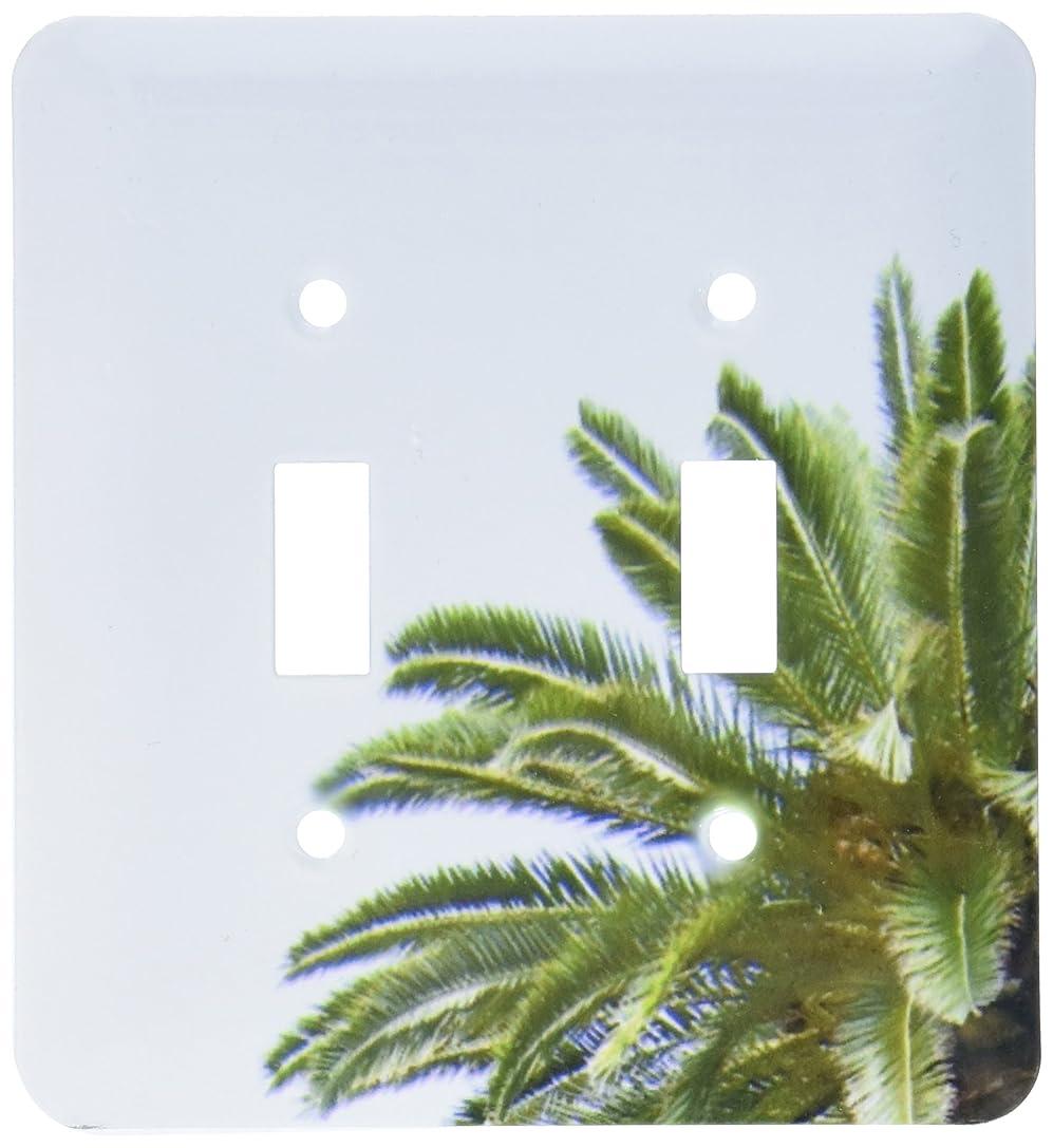 コテージ鬼ごっこドーム3drose LSP _ 164998?_ 2?Palm Tree onホワイトSky Green Leaves地中海トロピカル抽象ライトスイッチカバー