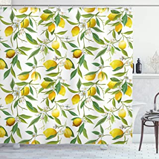 Ambesonne Nature Shower Curtain, Flowering Lemon Woody Plant Romance Habitat Citrus Fresh Background, Cloth Fabric Bathroom Decor Set with Hooks, 70