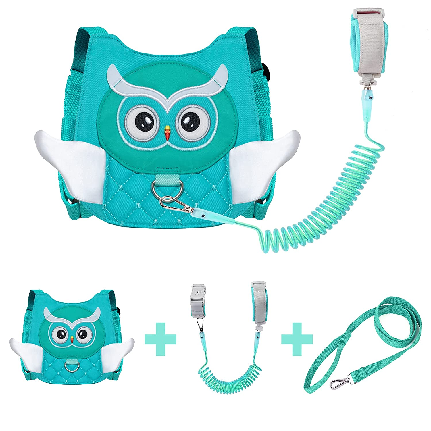 EPLAZA Owl-Like Toddler Harnesses with Leashes Anti Lost Wrist Link Wristband for 1.5 to 3 Years Kids Girls Boys Safety (Owl Green)