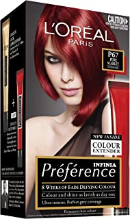 L'Oréal Paris Préférence Permanent Hair Colour - P67 Pure Scarlet (Intense, Fade-Defying Colour)