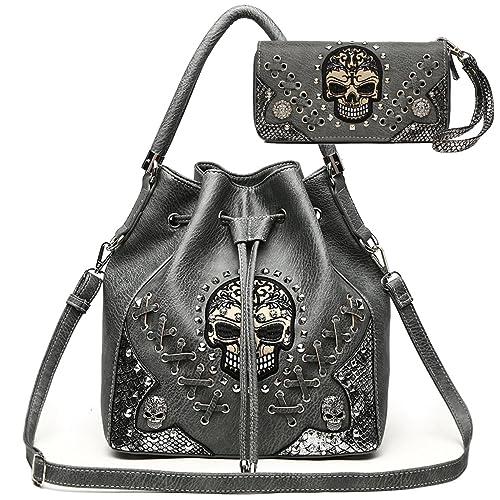 3f33f9bc6003 Sugar Skull Punk Art Rivet Studded Concealed Carry Purse Women Handbag  Fashion Shoulder Bag Wallet Set