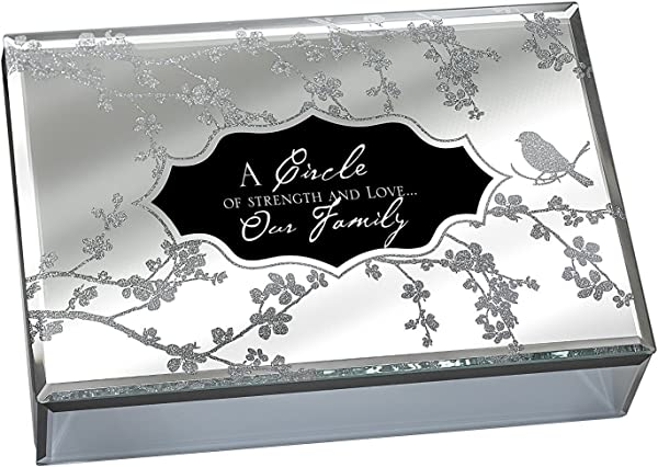 Our Family Large Deluxe Glass Mirror Jewelry Music Box Plays Song What A Wonderful World